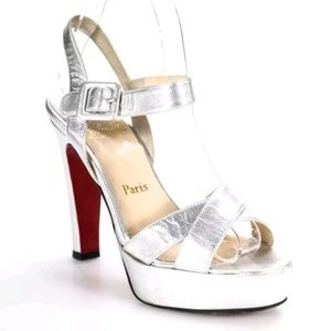 Christian Louboutin Silver Leather Pumps - Size 36